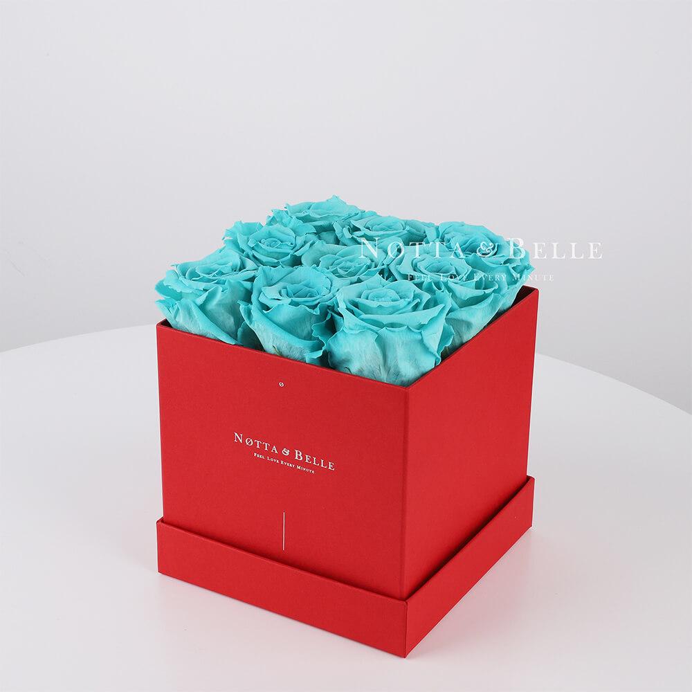 Долговечный букет из 9 бирюзовых роз - №344