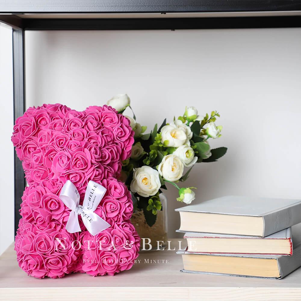 Mishka iz roz cveta Fuksii - 25 sm
