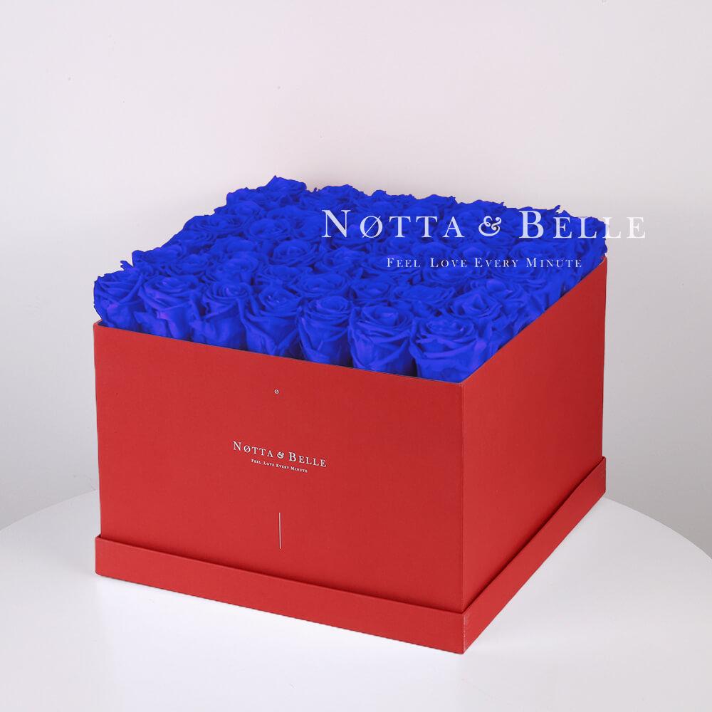 Долговечный букет из 49 синих роз - №734