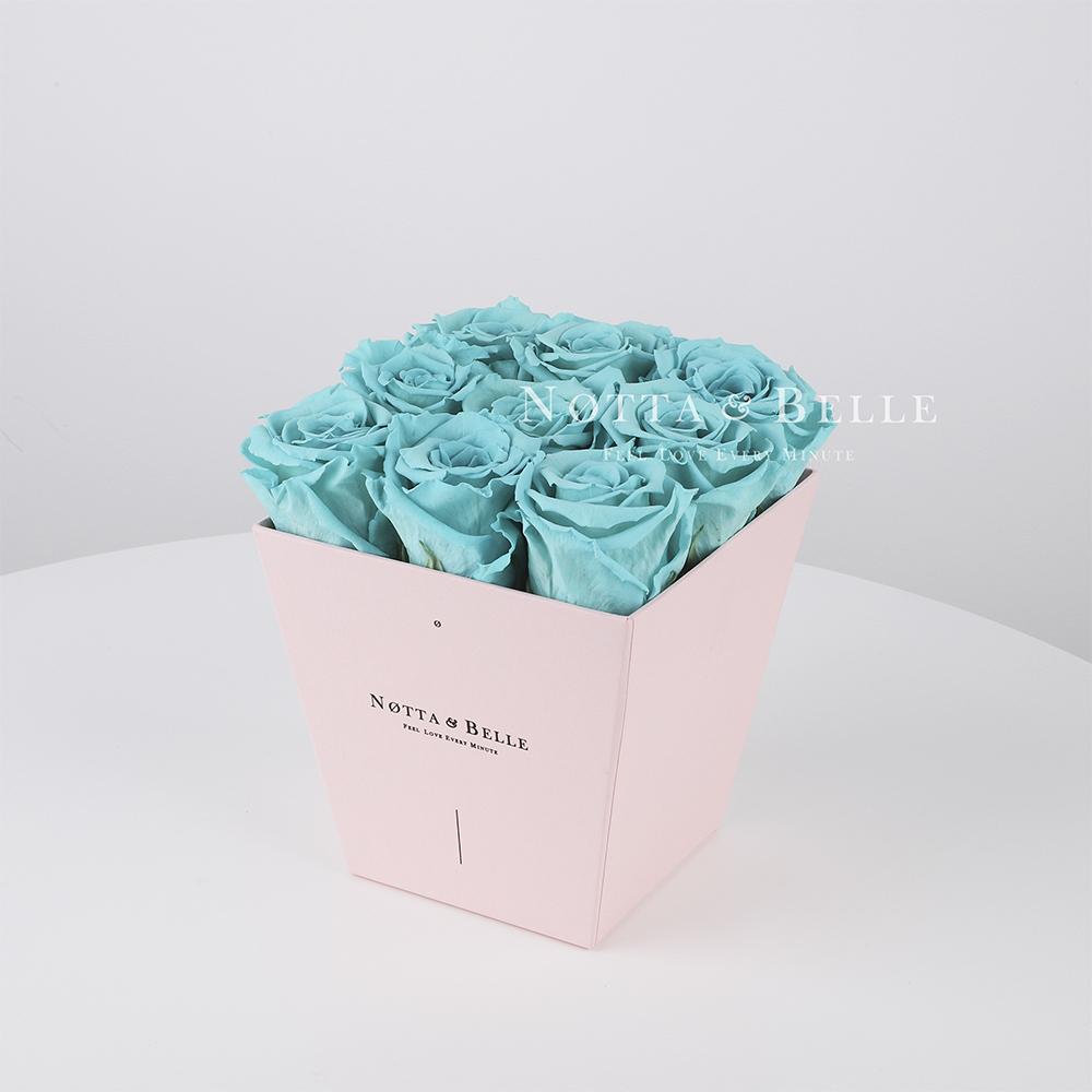 Долговечный букет из 9 бирюзовых роз - №145
