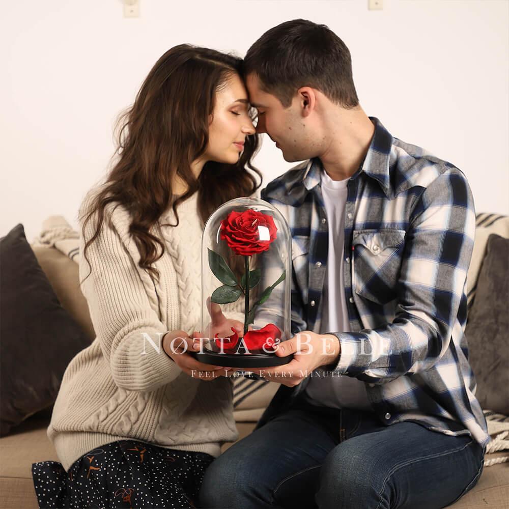Красная роза в колбе Premium
