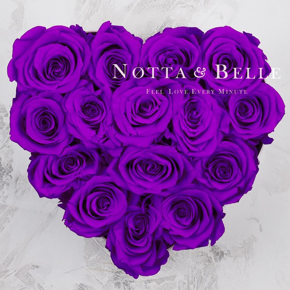 Mazzo colore viola «Love» in una scatola bianca - 15 pz.