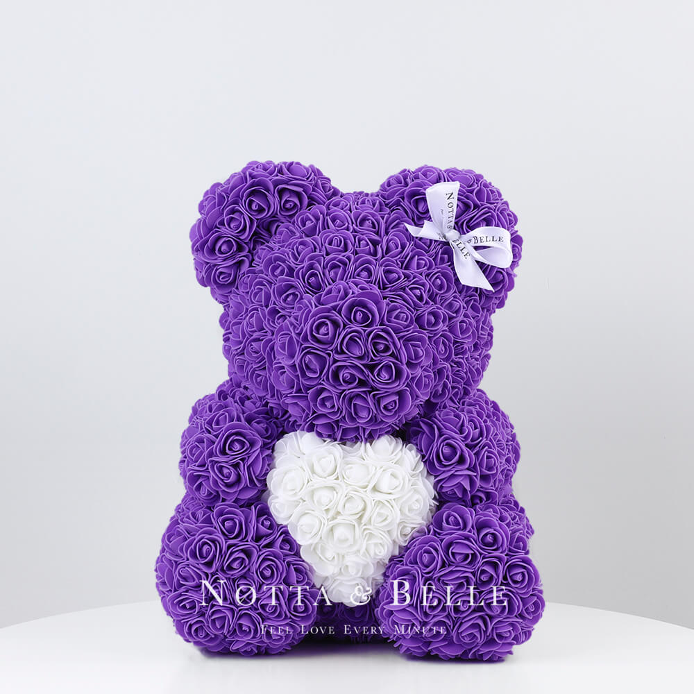 Ourson de roses avec un cœur Violet - 35 сm
