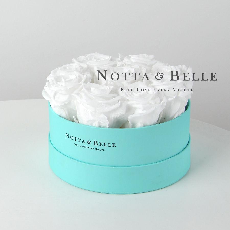 Долговечный букет из 9 белых роз - №1061