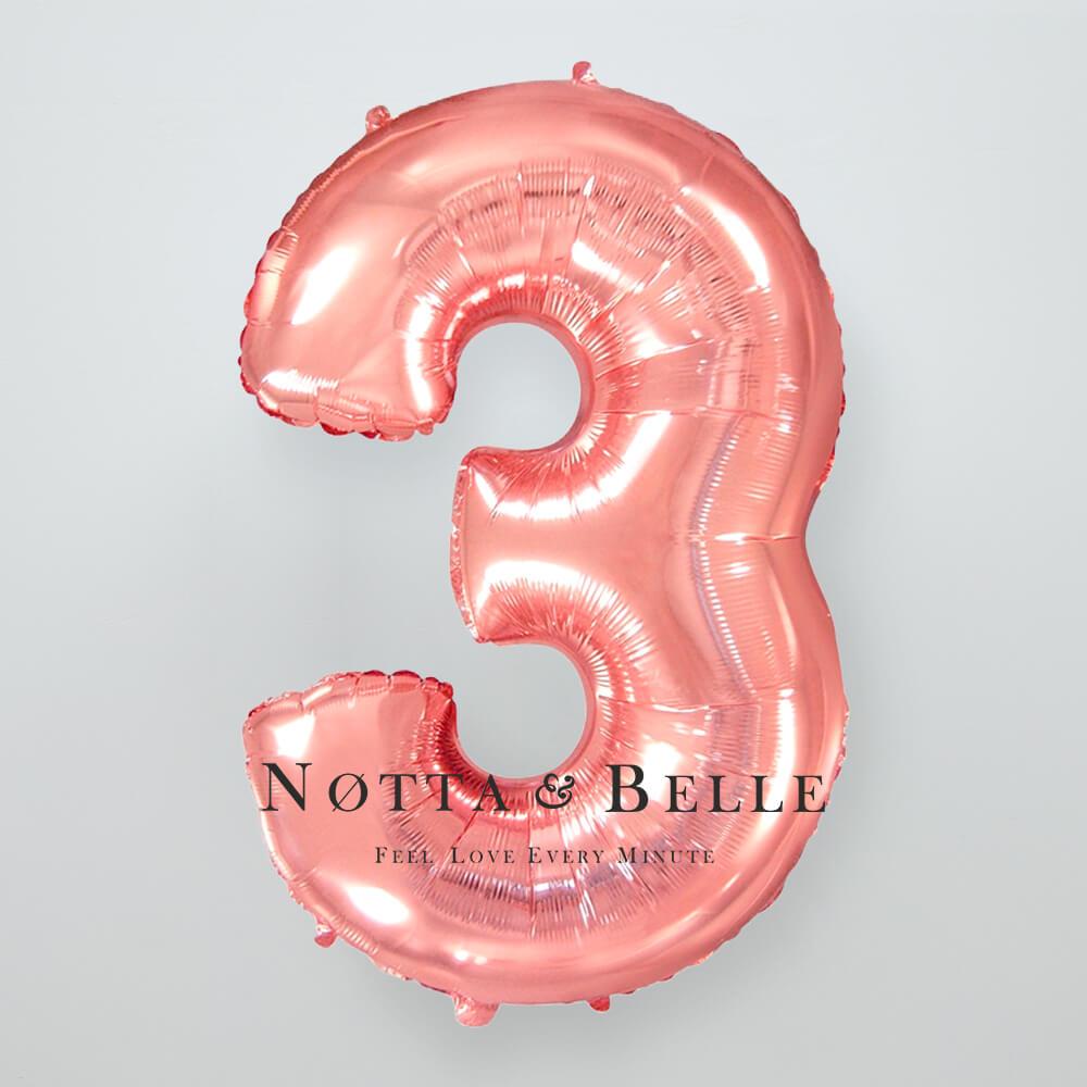 Шарик цвета розового золота в виде цифры 3