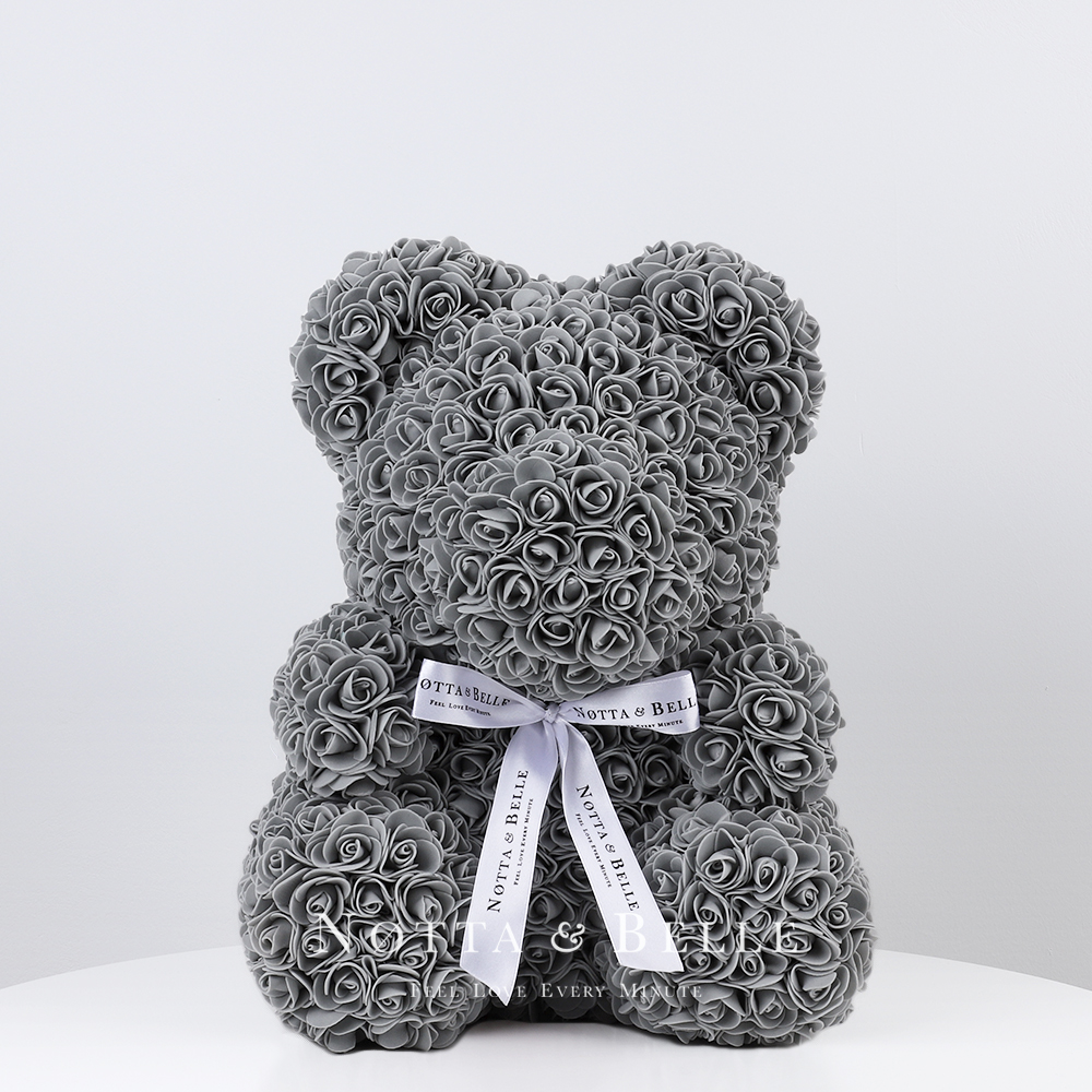 Серый мишка из роз - 35 см