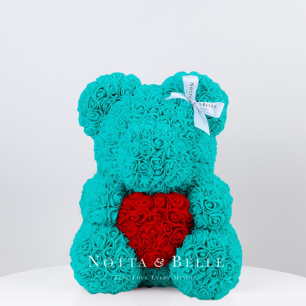 Türkis Bär aus künstlichen Rosen mit einem Herzchen - 35 сm