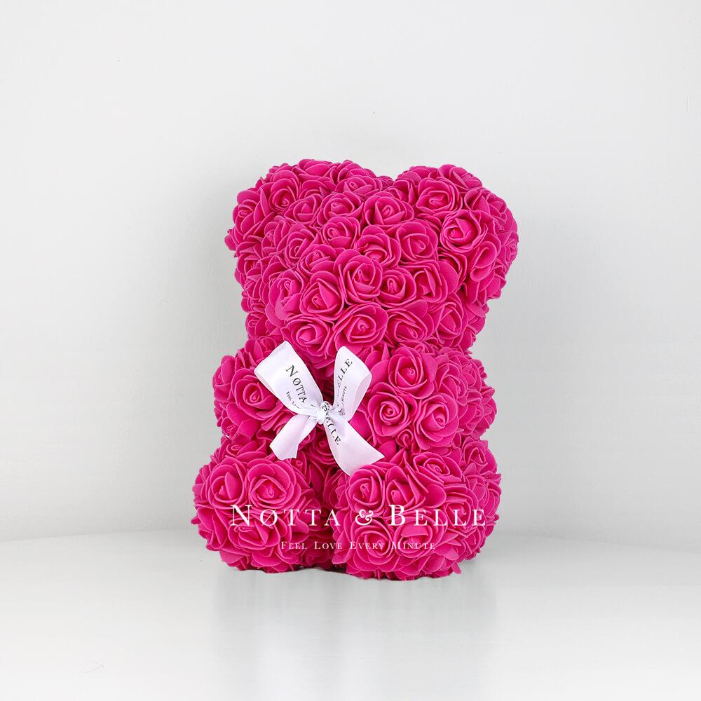Мишка из роз цвета Фуксии - 25 см