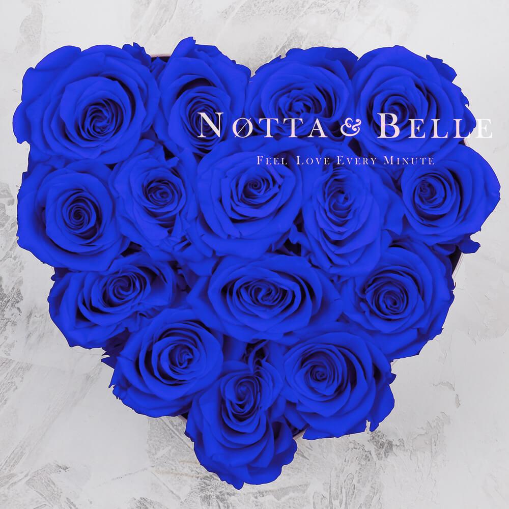 Mazzo colore blu «Love» in una scatola nera - 15 pz.