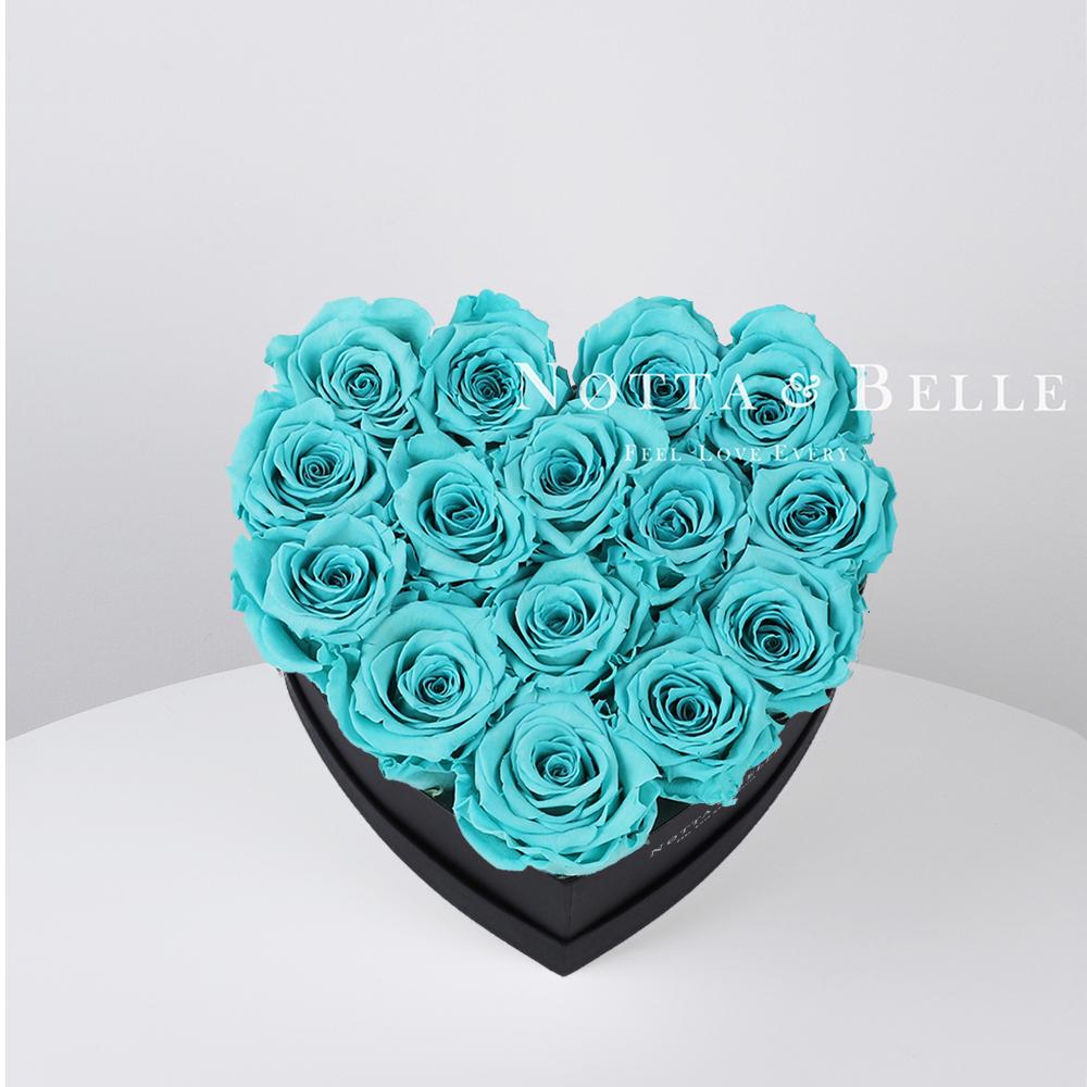 Tyrkysová kytice «Love» v černé krabičce - 15 ks