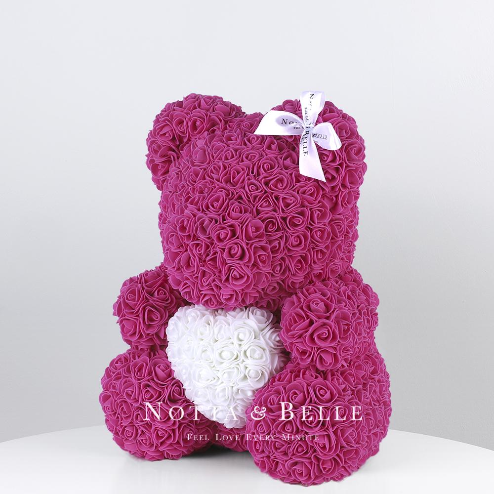 Мишка из роз цвета Фуксии с белым сердцем - 35 см