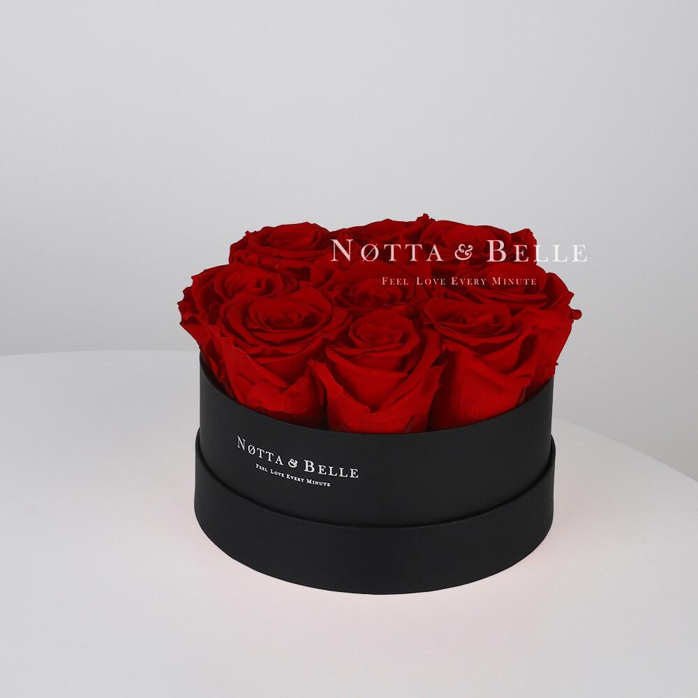 Долговечный букет из 9 бордовых роз - №1032