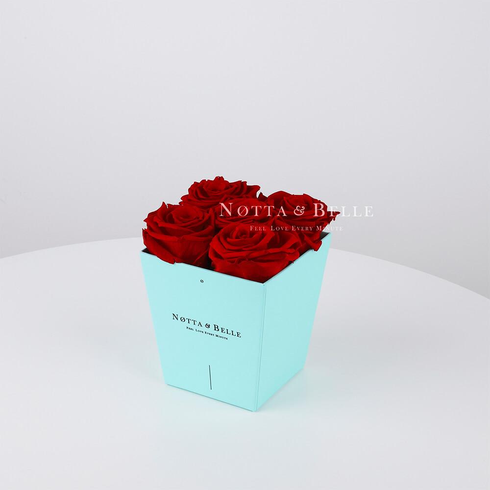 Долговечный букет из 5 бордовых роз - №063