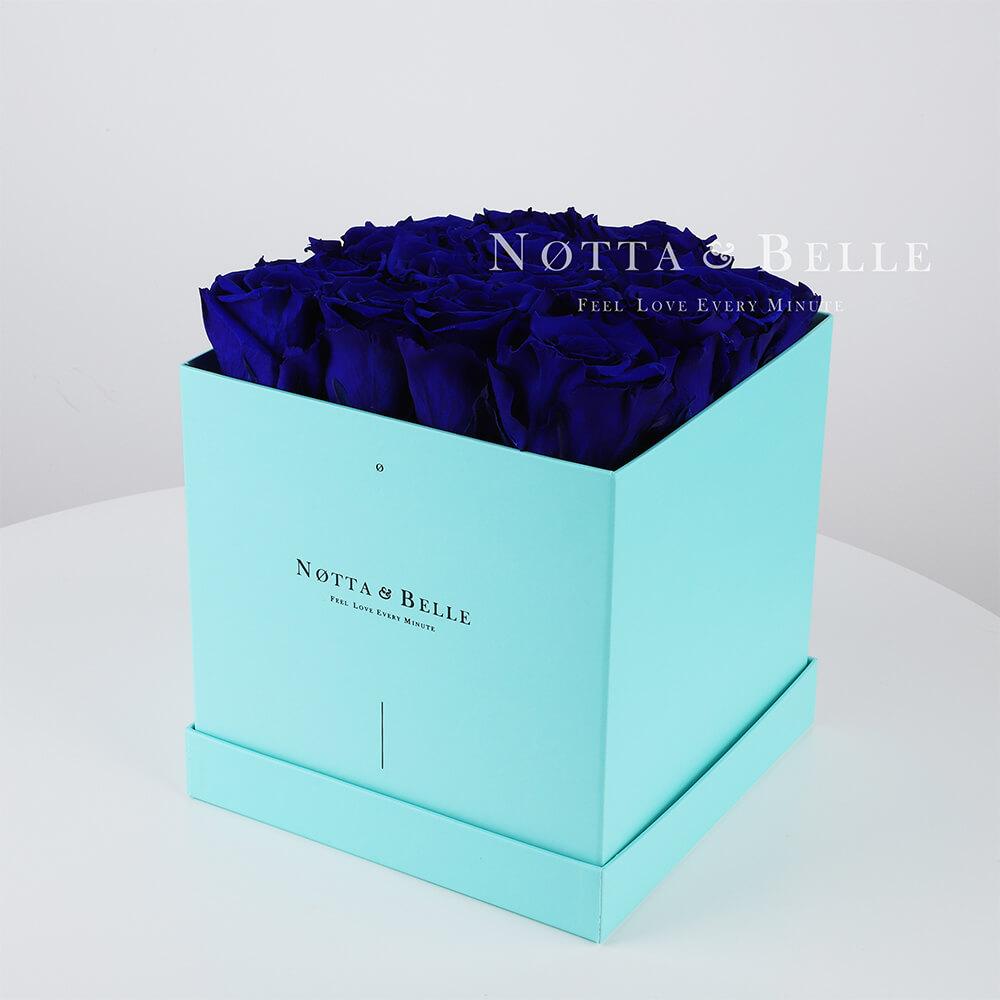 Долговечный букет из 17 синих роз - №433