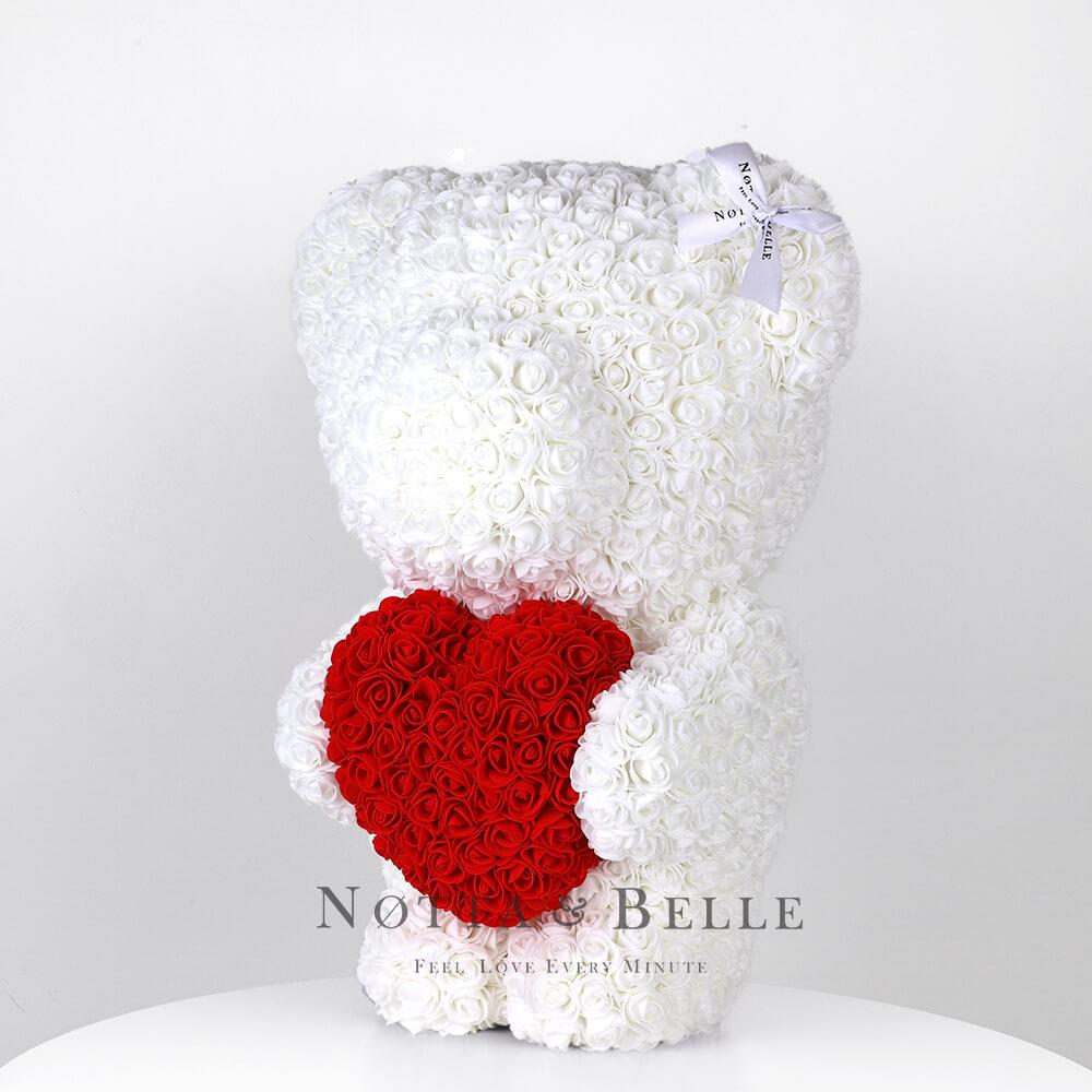 Ourson de roses avec un cœur Blance - 55 sm