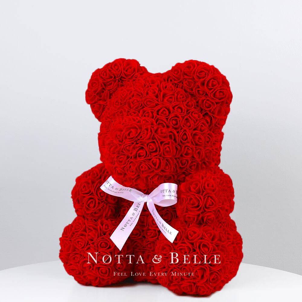 Красный мишка из роз - 35 см
