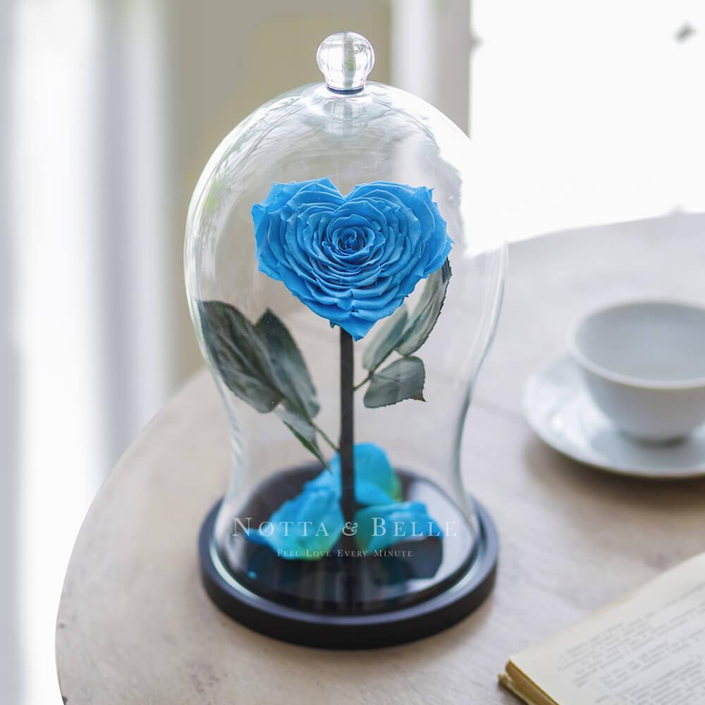 Голубая роза Premium X в форме сердца