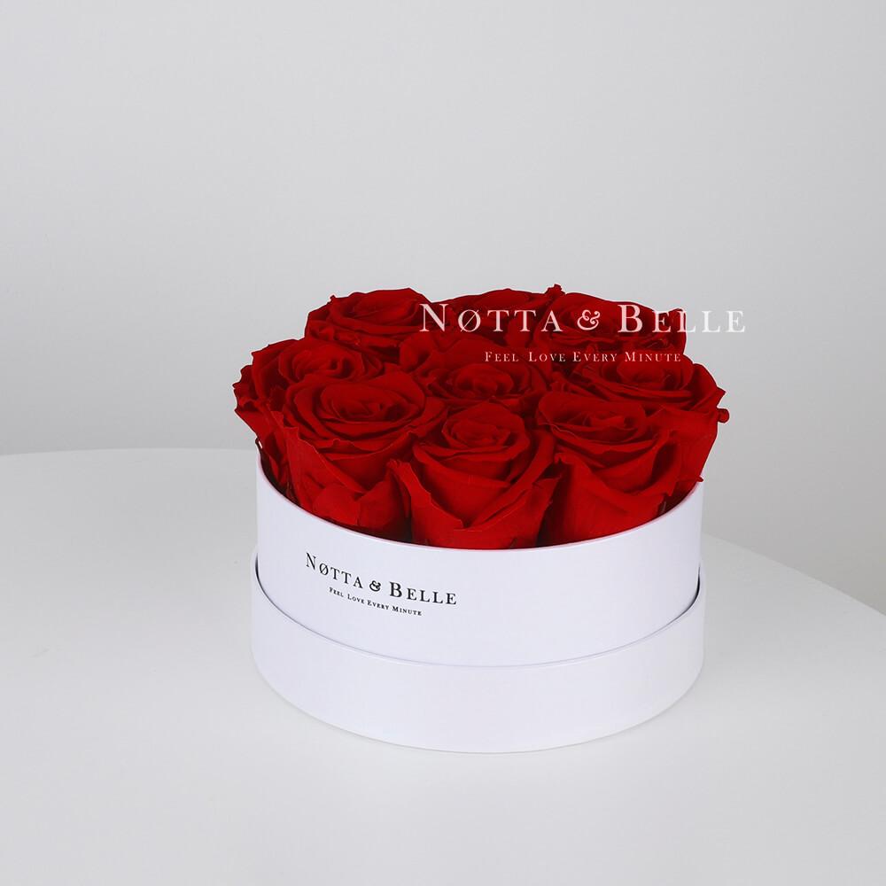 Долговечный букет из 9 бордовых роз - №1031