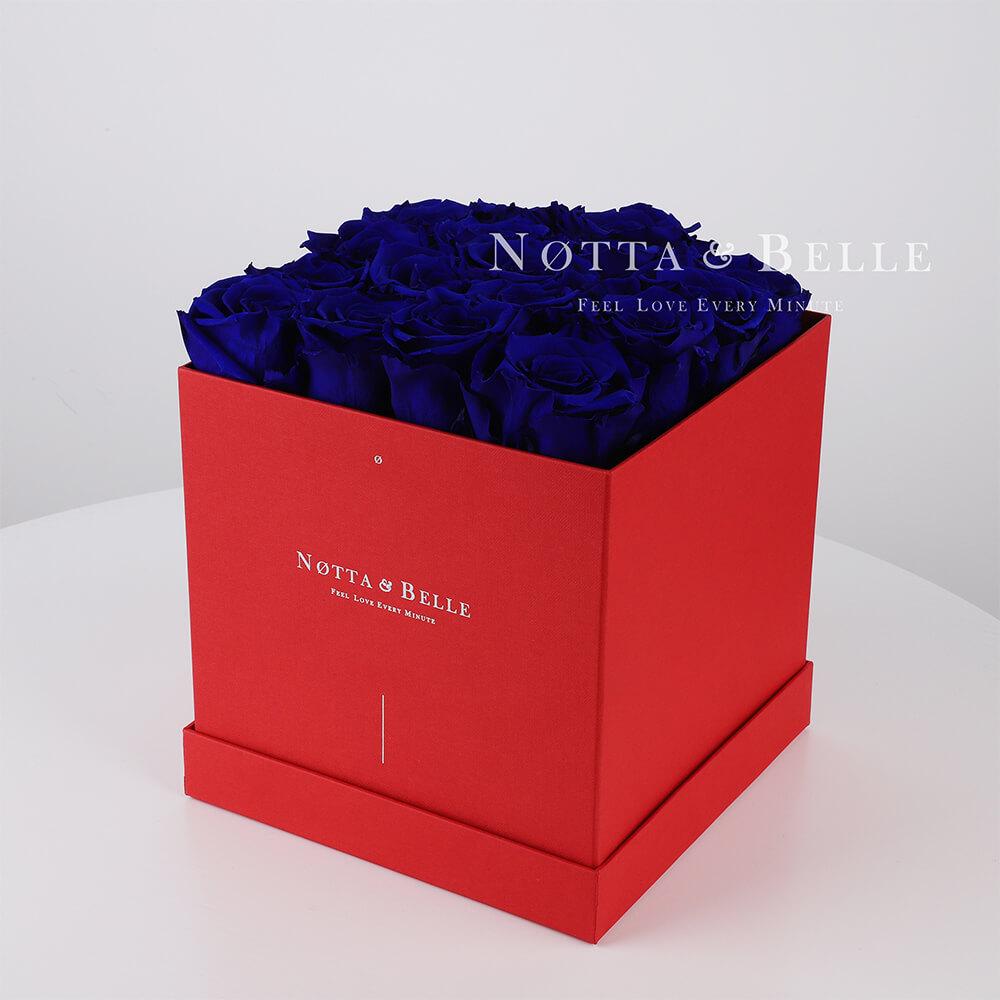 Долговечный букет из 17 синих роз - №434