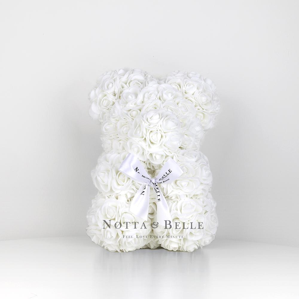 Bílý medvídek z růží - 25 cm