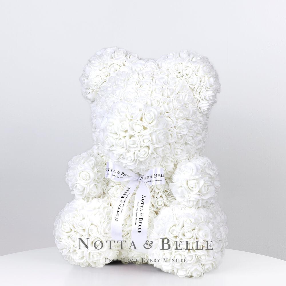 Bílý medvídek z růží - 35 cm