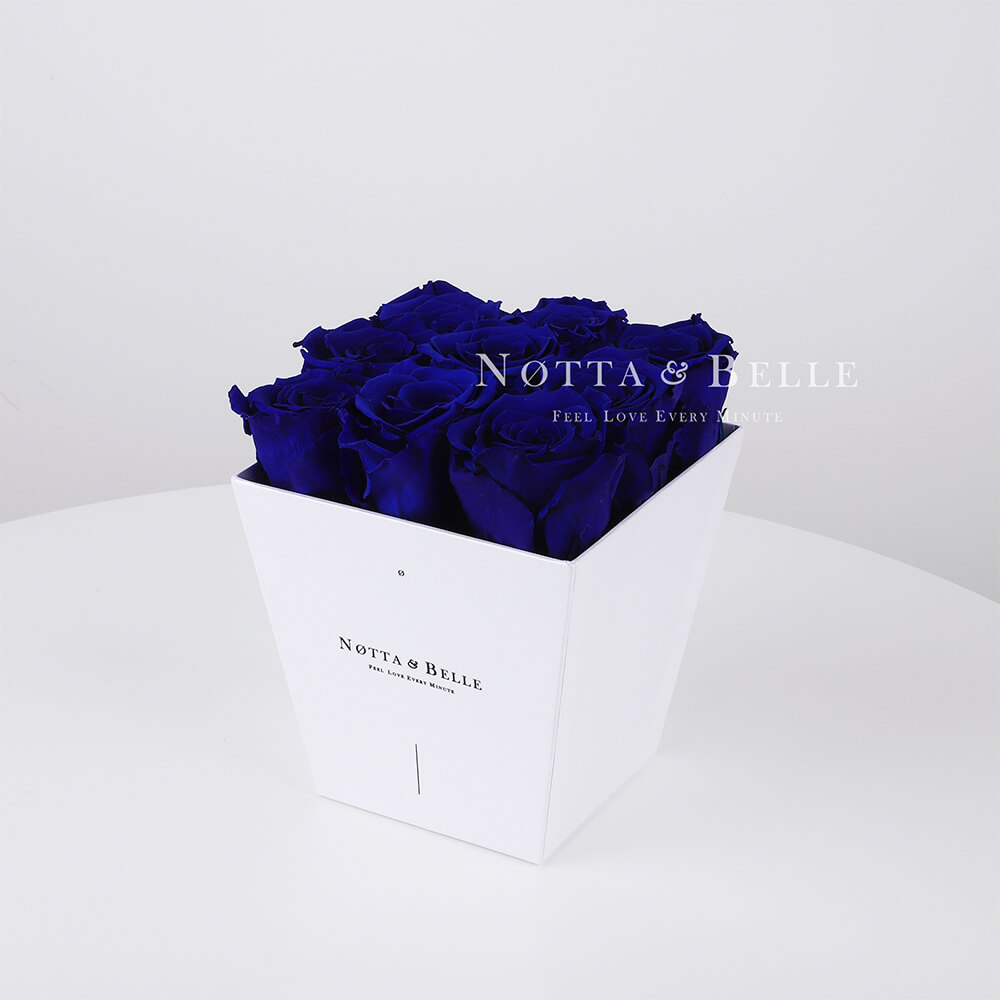 Blue roses in a white box - «Forever» - 9 roses
