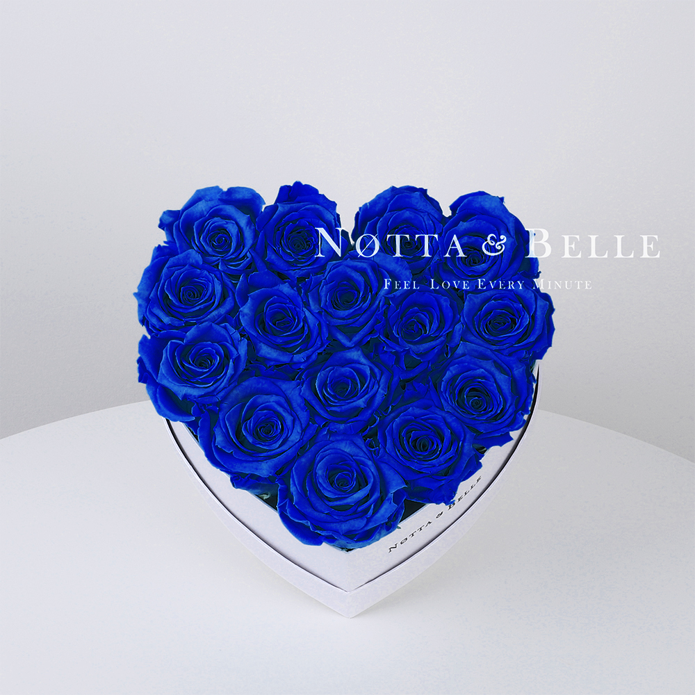Blue roses in a white box - «Love» - 15 roses
