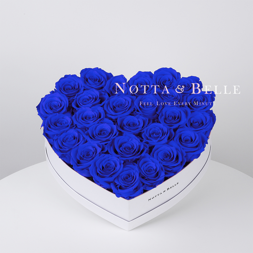 Blue roses in a white box - «Love» - 27 roses