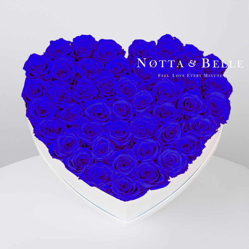 Blue roses in a white box - «Love» - 35 roses