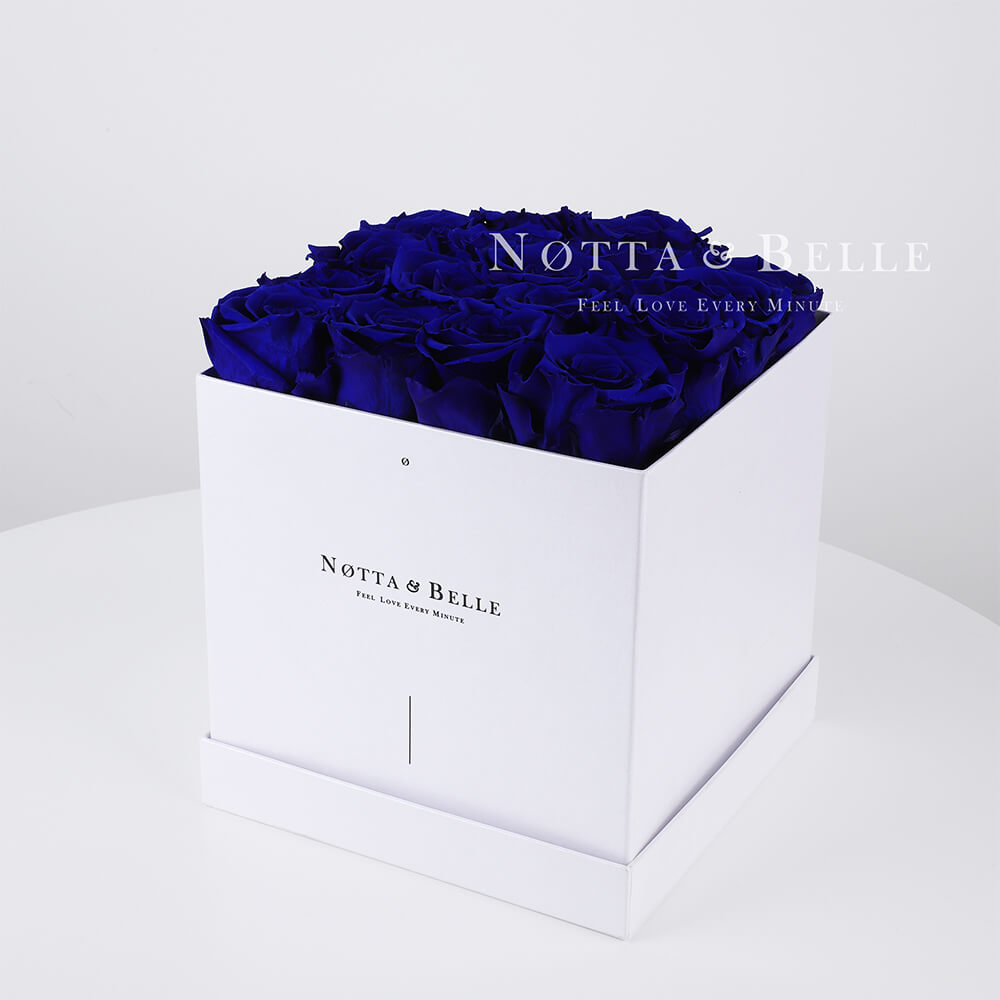 Blue roses in a white box - «Romantic» - 17 roses
