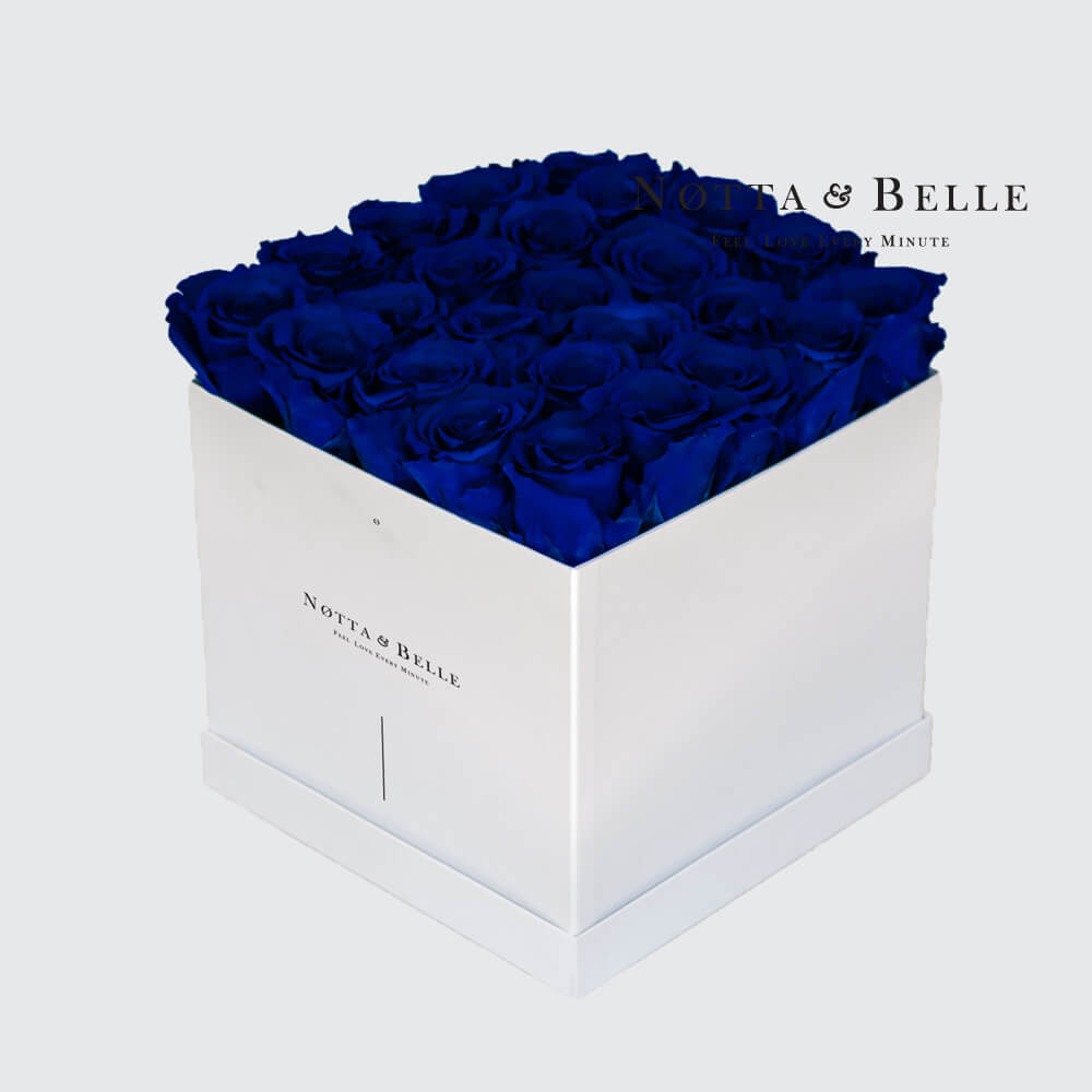 Blue roses in a white box - «Romantic» - 25 roses