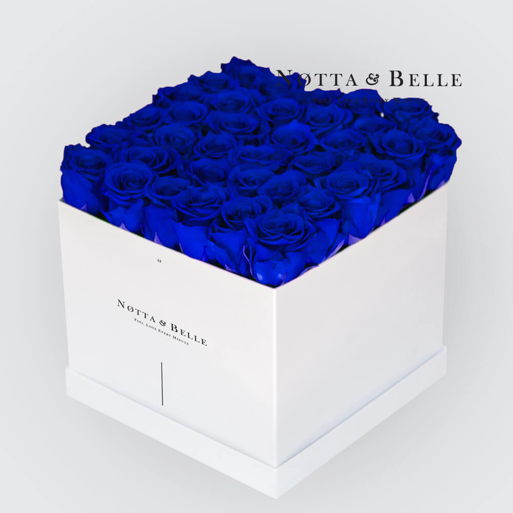 Blue roses in a white box - «Romantic» - 35 roses