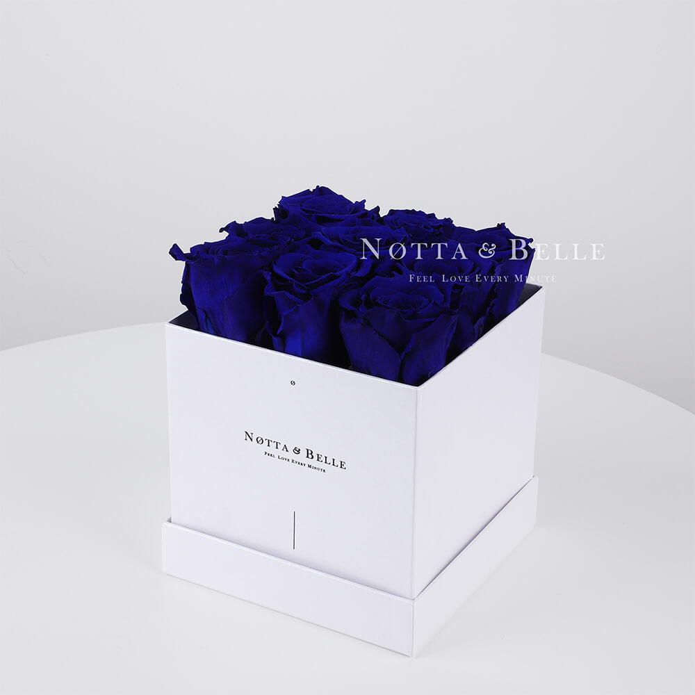 Blue roses in a white box - «Romantic» - 9 roses