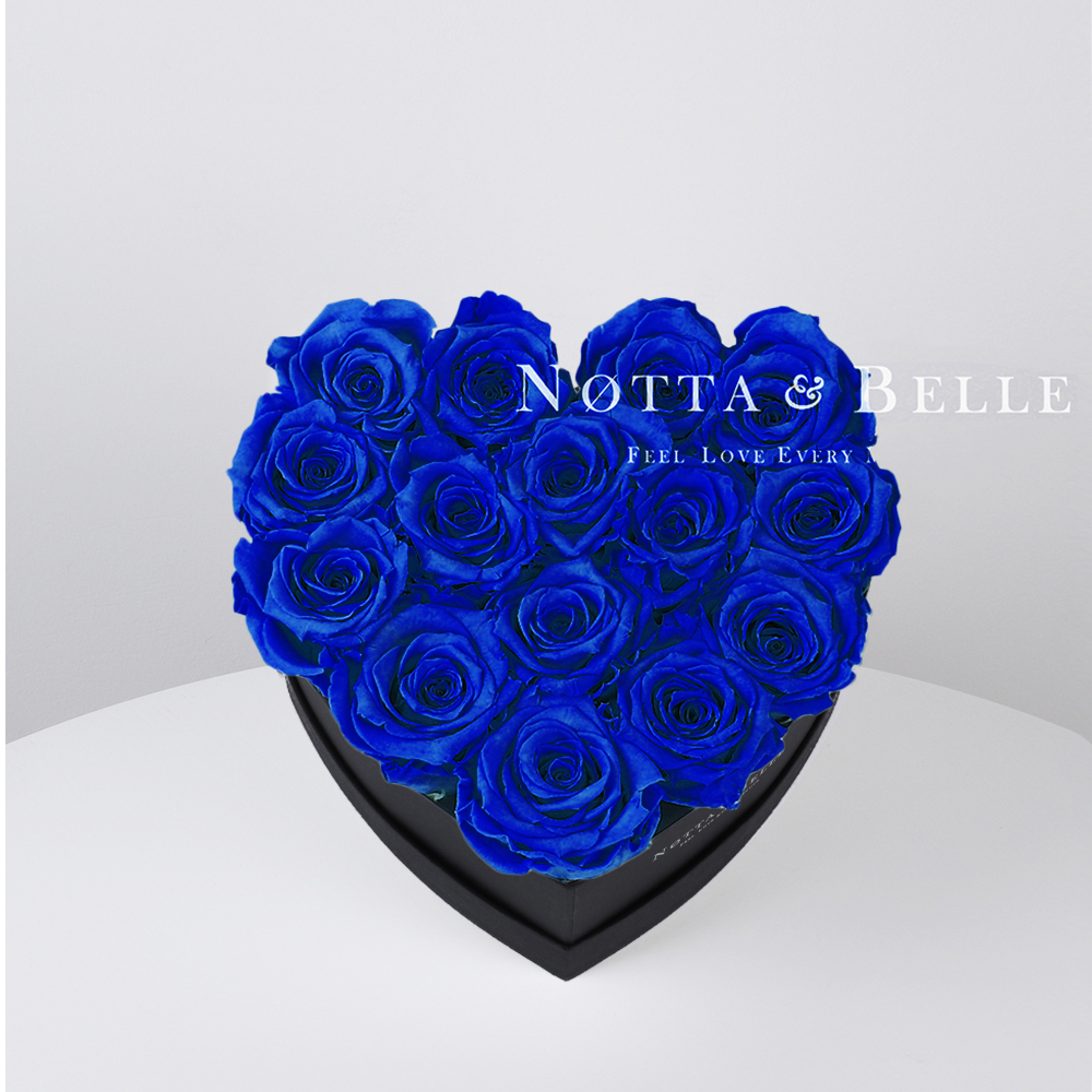 Blue roses in heart black box - 15 roses