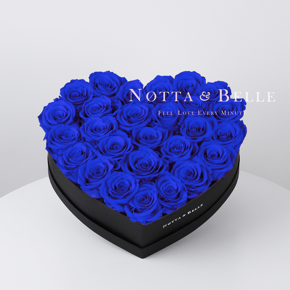 Blue roses in heart black box - 27 roses