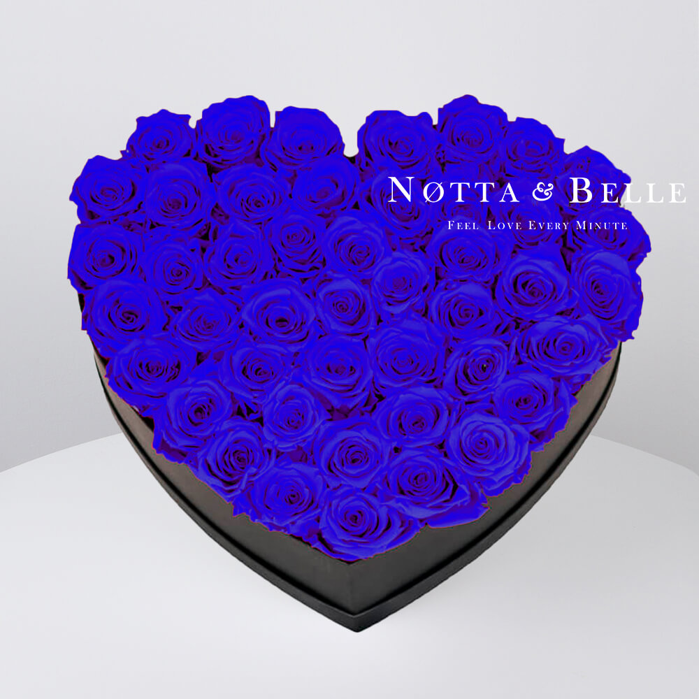 Blue roses in heart black box - 35 roses