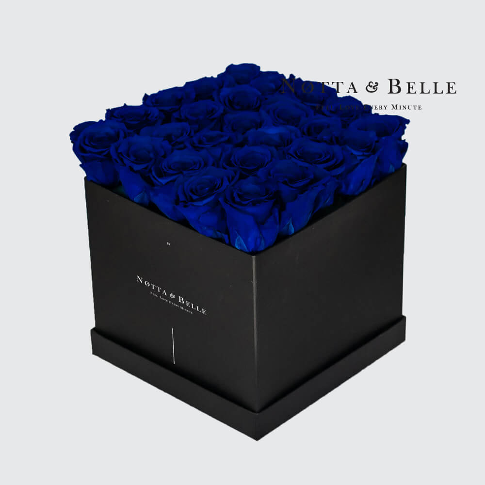 Blue roses in square black box - 25 roses