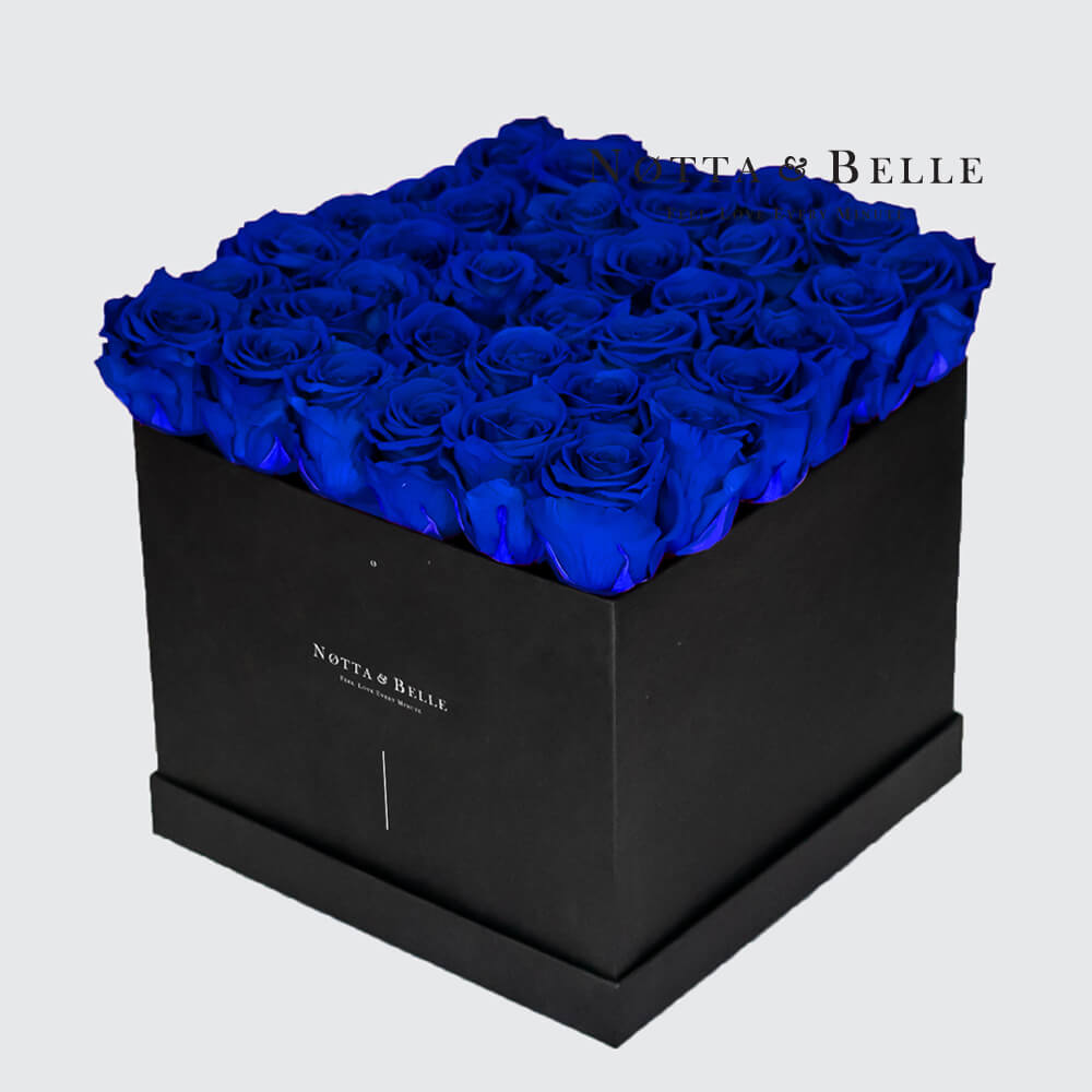 Blue roses in square black box - 35 roses