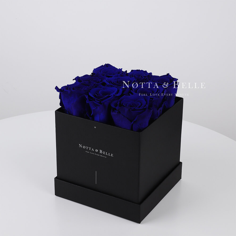 Blue roses in square black box - 9 roses