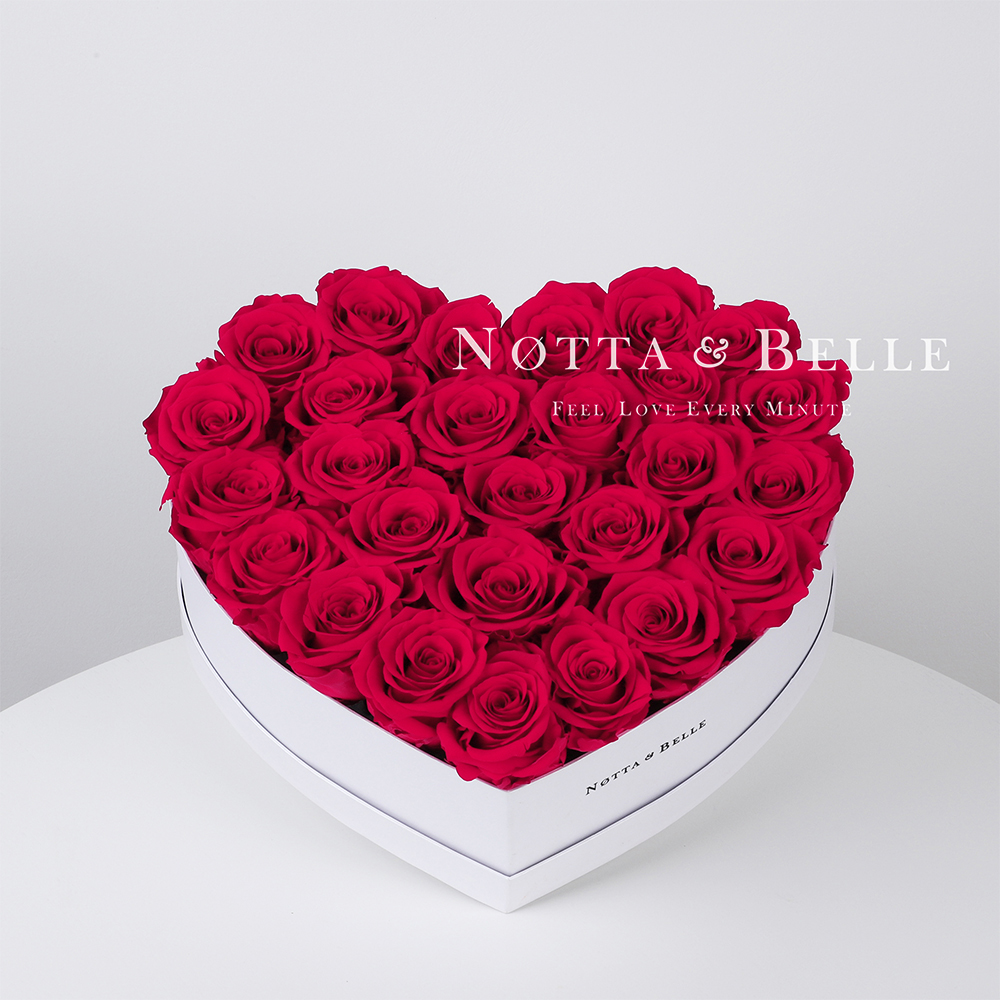 Bright pink roses in a white box - «Love» - 29 roses