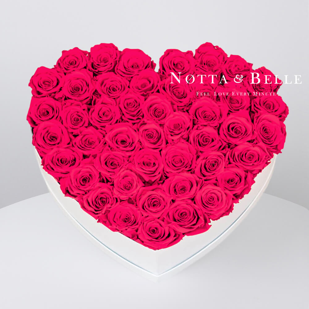 Bright pink roses in a white box - «Love» - 35 roses
