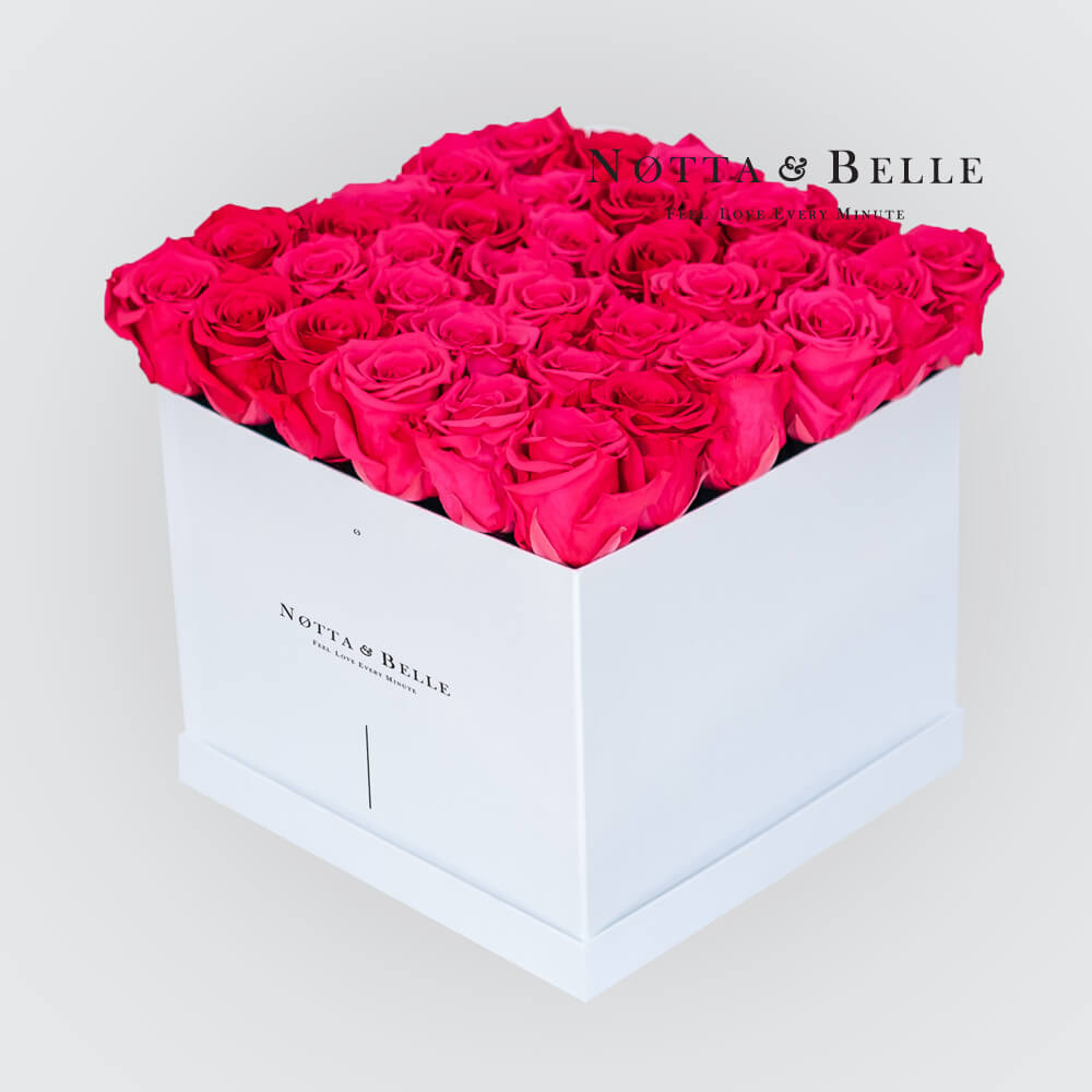 Bright pink roses in a white box - «Romantic» - 35 roses