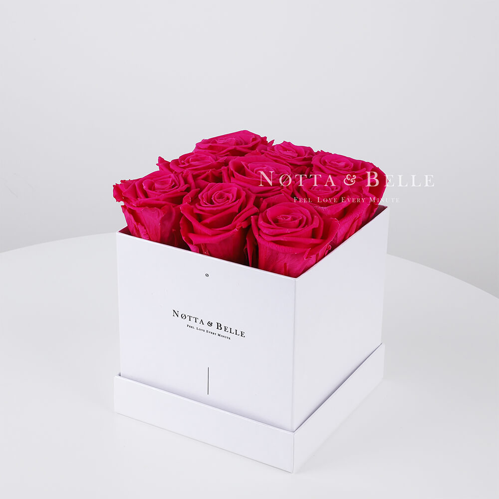 Bright pink roses in a white box - «Romantic» - 9 roses