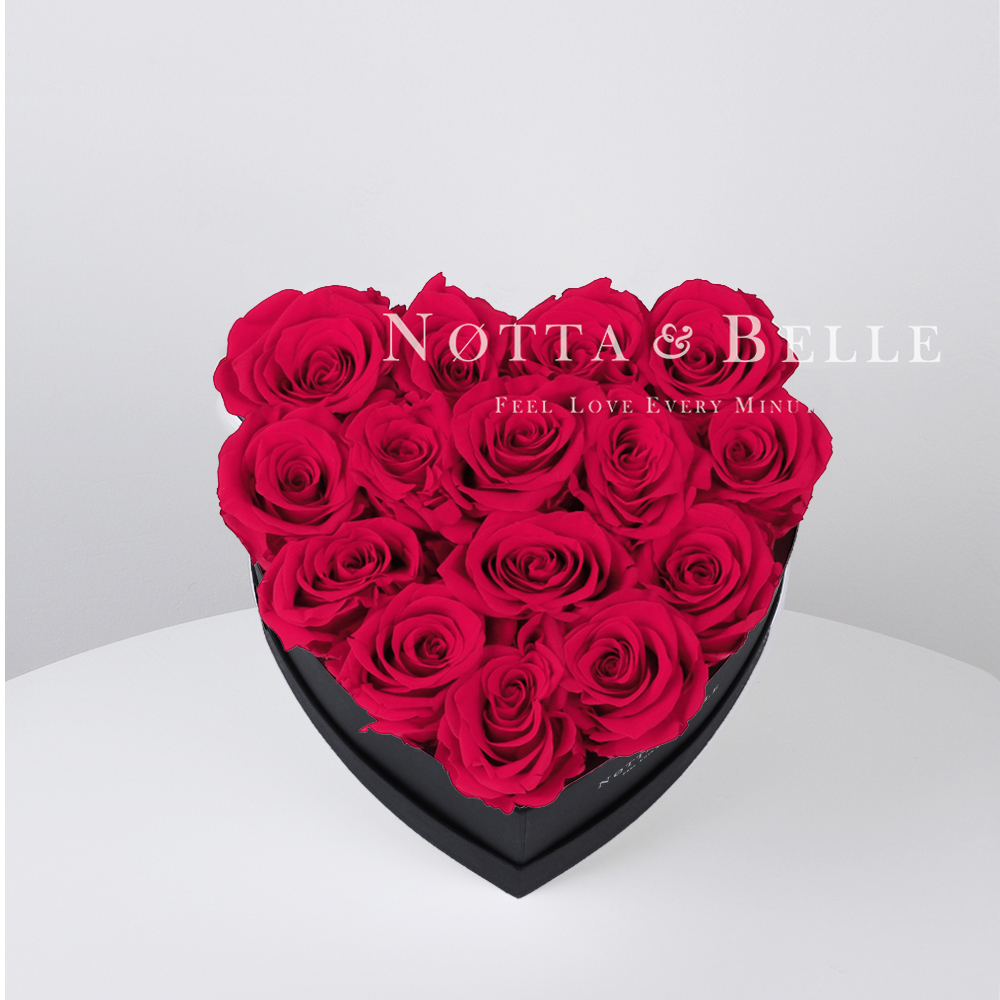 Bright pink roses in heart black box - 15 roses