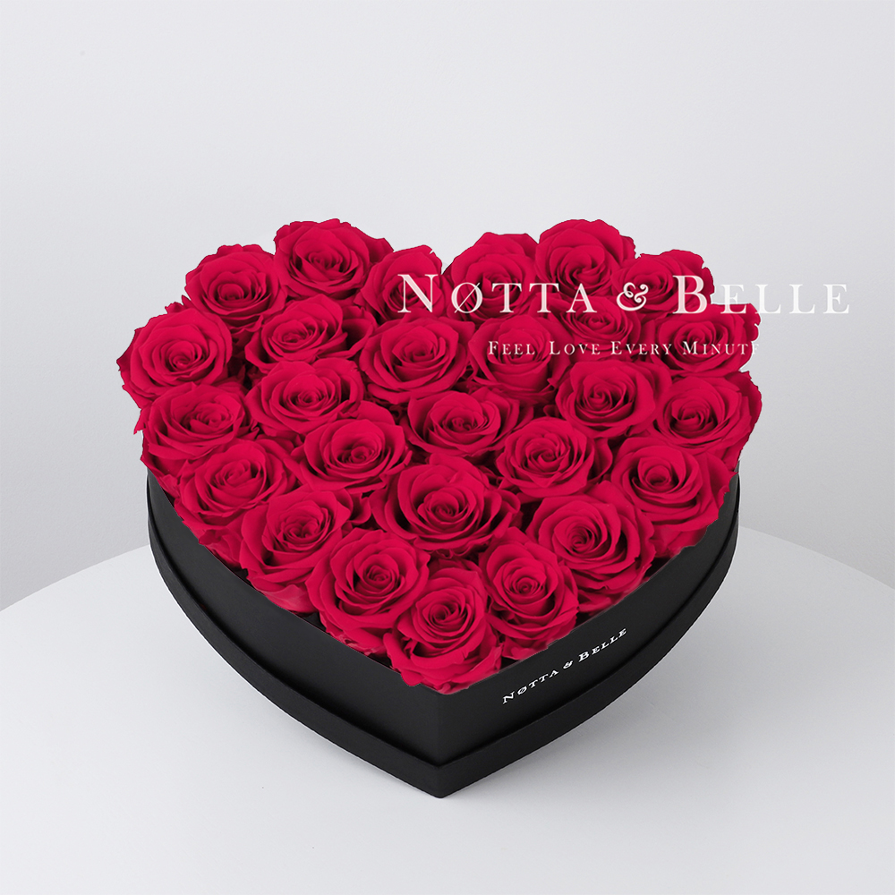 Bright pink roses in heart black box - 29 roses