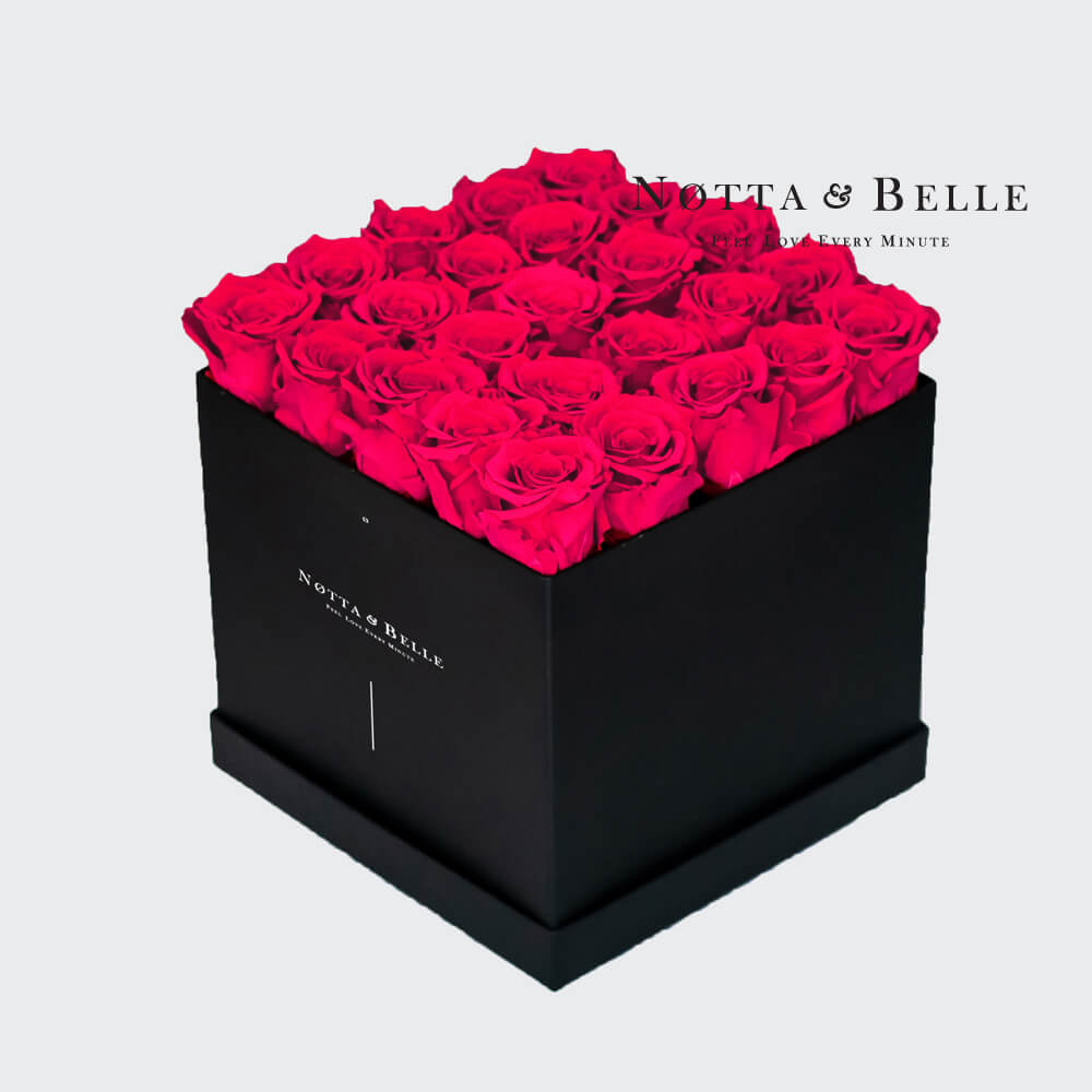 Bright pink roses in square black box - 25 roses