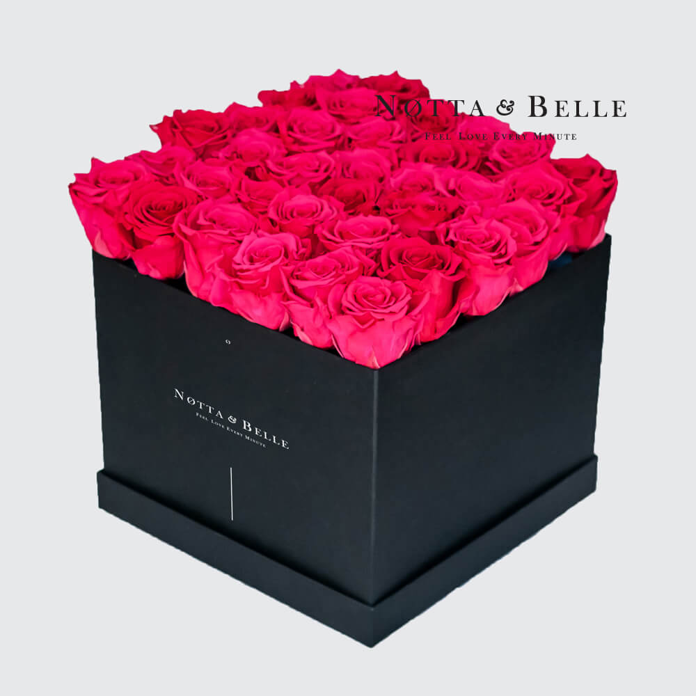 Bright pink roses in square black box - 35 roses