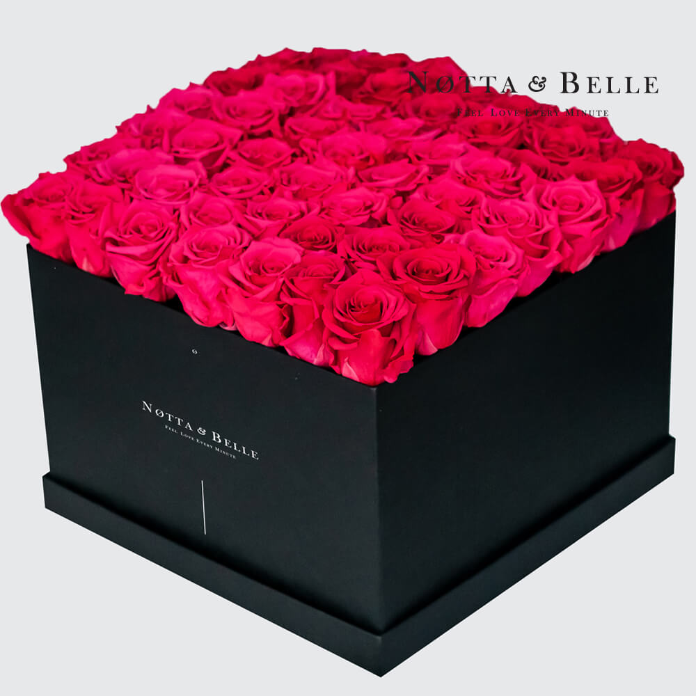 Bright pink roses in square black box - 49 roses