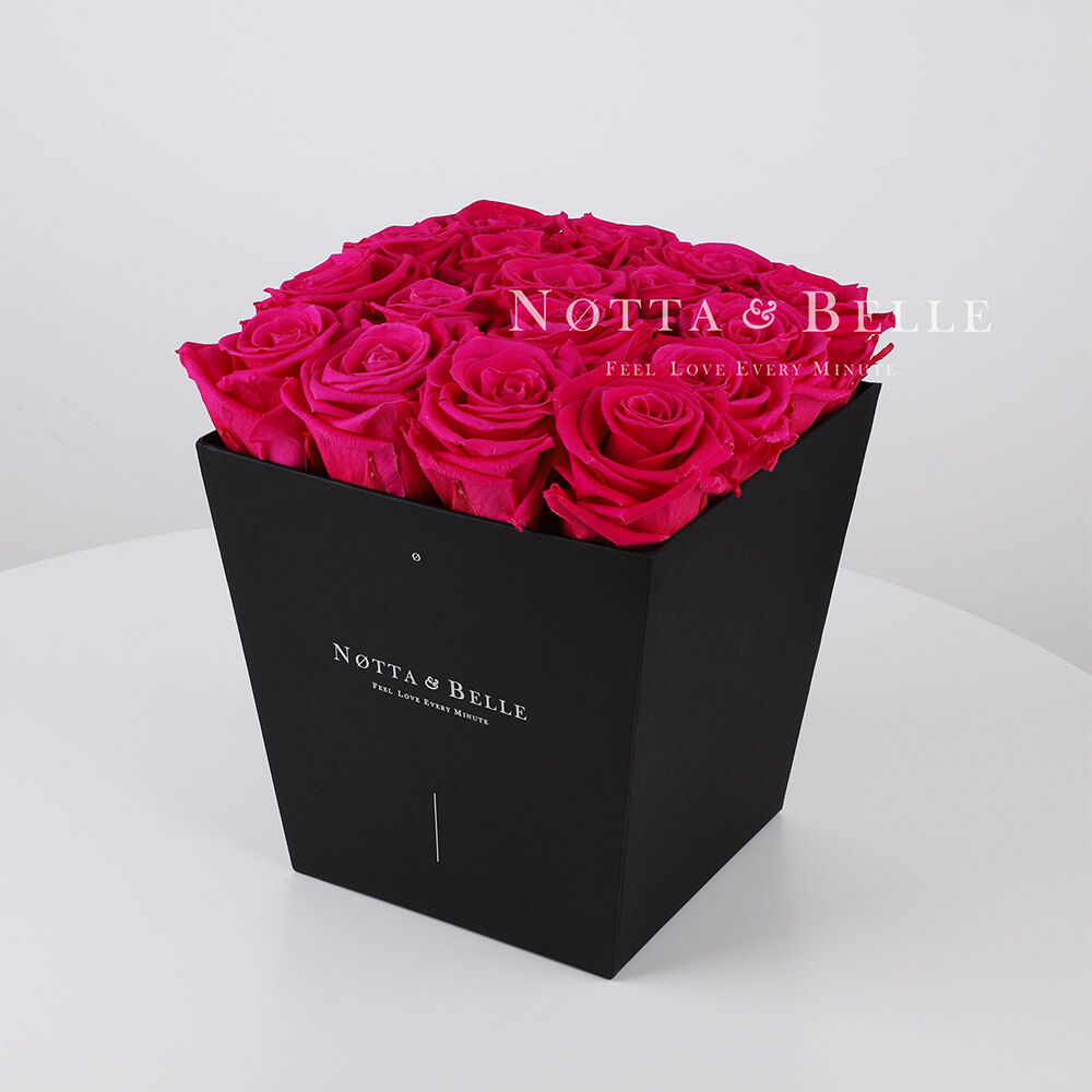 Bright pink roses in trapezoid black box - 17 roses