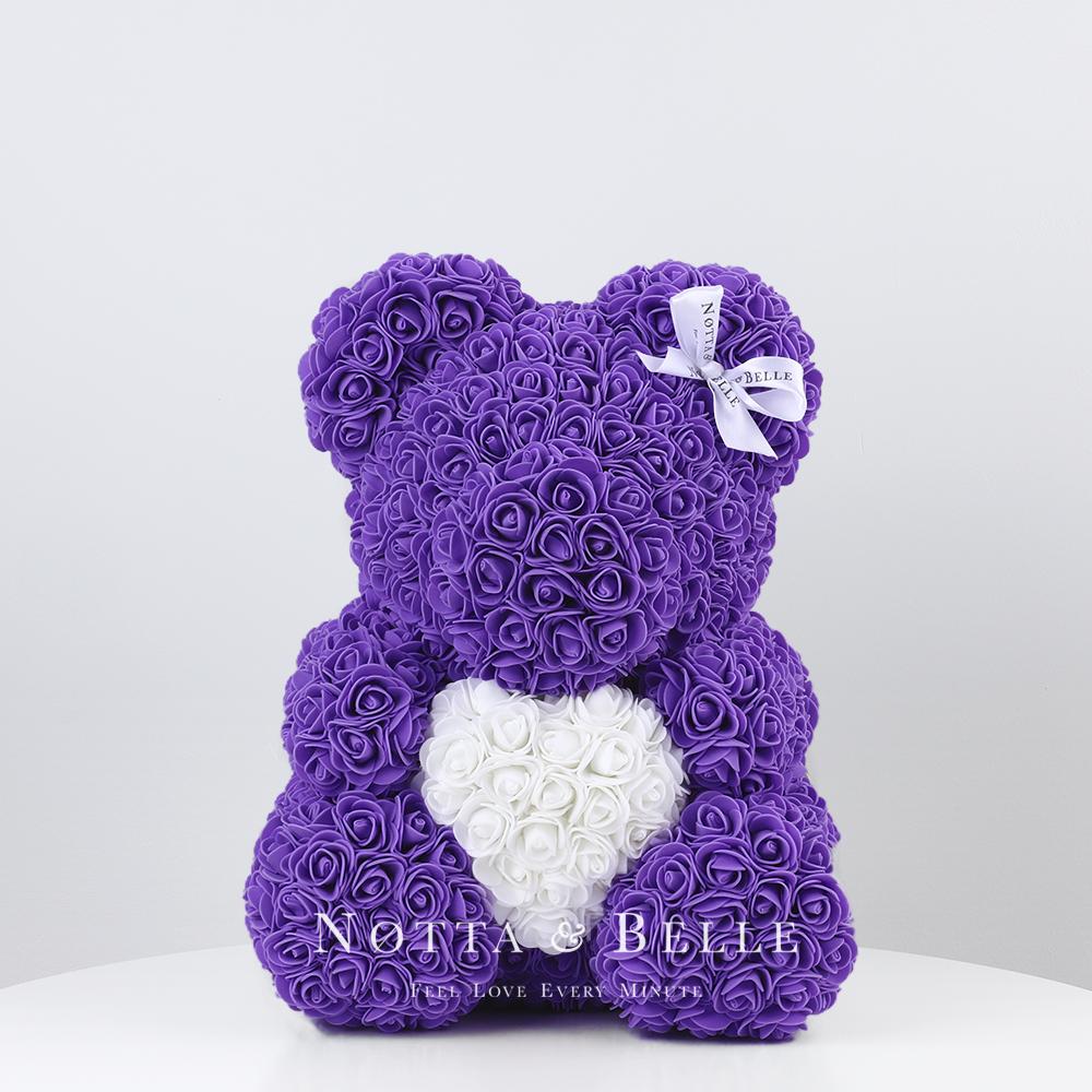 Fialový medvídek z růží s srdcem- 35 сm